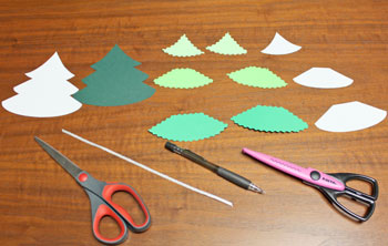 Layered Christmas Tree step 1 cut shapes and ribbon