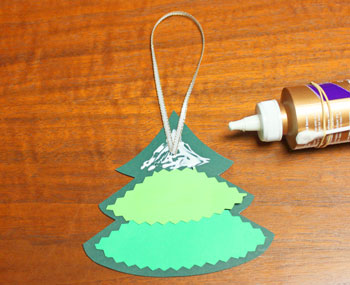 Layered Christmas Tree step 5 glue hanging loop on opposite side