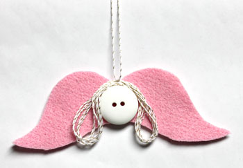 Mustache Angel pink with gold yarn