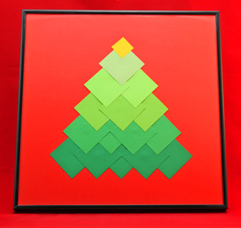 Ombre Squares Christmas Tree step 11 add a frame and display