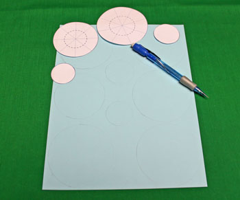 Paper Chrysanthemum Ornament step 3 draw around pattern pieces