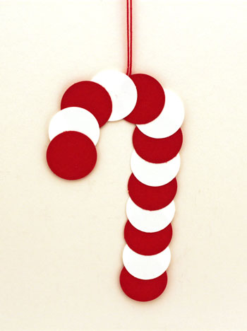 paper circles candy cane finished and hanging on display - Christmas Candy Canes