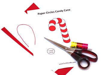 paper circles candy cane ornament materials and tools
