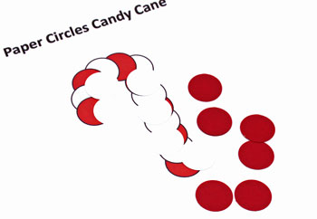 Paper Circles Candy Cane ornament step 1 cut circles of red and white paper