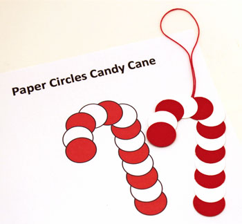 Paper Circles Candy Cane ornament step 4 finish gluing circles together
