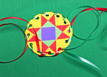 Paper Quilt Patch Ornament step 13 weave second ribbon