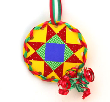 Paper Quilt Patch Ornament step 18 hang decoration to display