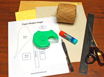 Paper Shapes Angel materials and tools