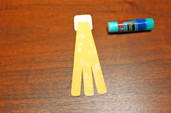 Paper Shapes Angel step 3 glue next robe strips