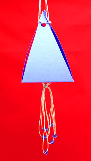 Pyramid Box Ornament large finished in blue