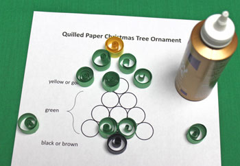 Quilled Paper Christmas Tree Ornament step 7 glue circles together