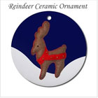 Reindeer and Snow Ceramic Ornament on the funEZ Bazaar