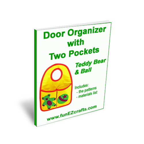 Door Organizer Two Pockets with Teddy Bear and Ball - Patterns Only