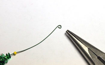 Tiny Christmas Tree Ornament step 6 bend wire end