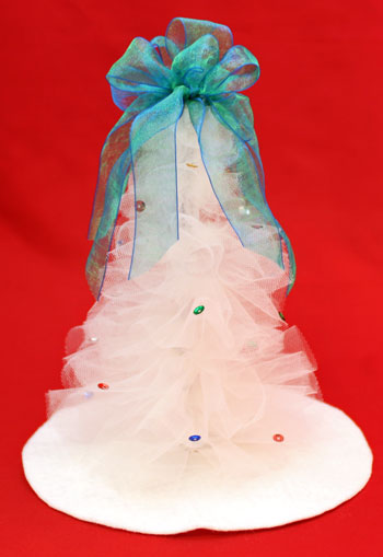 Tulle and Chenille Christmas Tree finished and on display