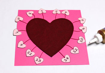Valentine Advent Calendar step 11 glue overlay heart